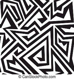 modello, labirinto, monocromatico, seamless
