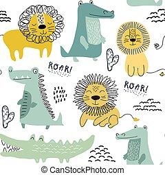 modello, leoni, tessuto, seamless, fondo, coccodrillo, vivaio, involucro, paper., decorazione, bambini, tessile