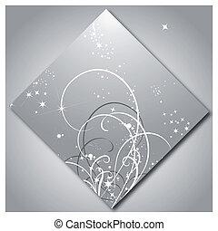 modello, lucente, stelle, fondo, argento