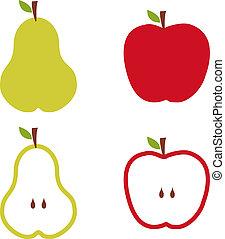 modello, mela pera, illustration.