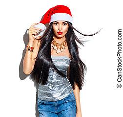 modello, moda, bellezza, diritto, volare, capelli lunghi, santa, ragazza, cappello, natale, rosso