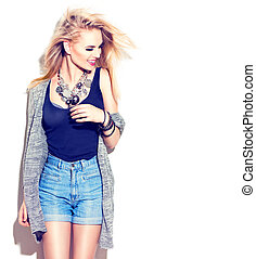 modello, moda, ragazza, moda, isolato, style., strada, portrait., bianco, casuale