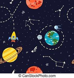 modello, pianeti, razzo spaziale, stars.