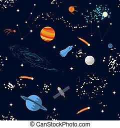 modello, pianeti, seamless, stelle, spazio