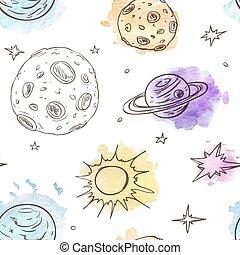 modello, pianeti, stelle