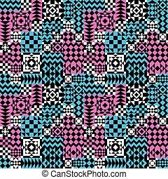modello, pink-blue, patchwork, geometrico