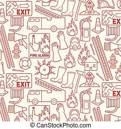 modello, pompieri, fondo, icone