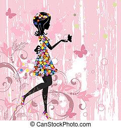 modello, ragazza, fiori