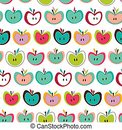 modello, seamless, carino, mela