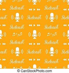 modello, seamless, fondo., handlettering, icone, musica, podcast, arancia