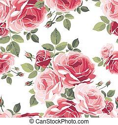 modello, seamless, fondo., roses., vendemmia, floreale