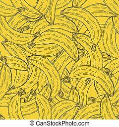 modello, seamless, frutta, mano, fondo., vettore, disegnato, banana