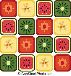 modello, seamless, frutte