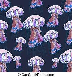 modello, seamless, jellyfish.