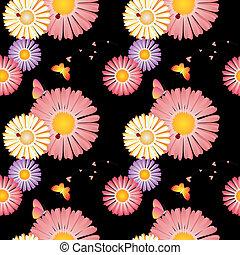 modello, seamless, primavera, farfalle, coccinelle, fiori