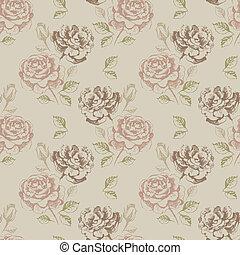 modello, seamless, rose, floreale, vendemmia