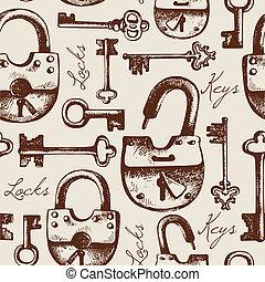 modello, seamless, serrature, chiavi, vendemmia, mano, disegnato