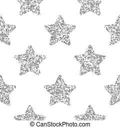 modello, seamless, stelle, argento