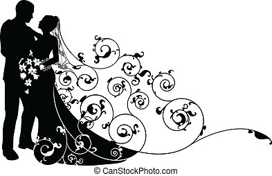 modello, sposo, silhouette, fondo, sposa
