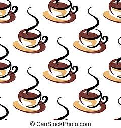 modello, tazze caffè, seamless, vapore