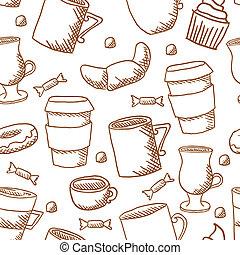 modello, tazze caffè, tazze, seamless