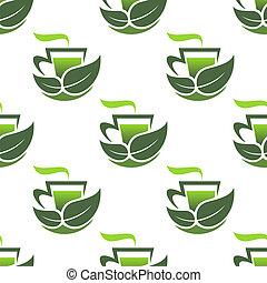 modello, verde, organico, seamless, tè