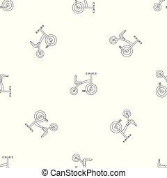 modello, vettore, seamless, triciclo