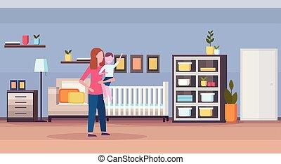 moderno, bigino, figlio, neonato, vivaio, camera letto, casa, poco, lei, presa a terra, interno, amare, appartamento, pieno, caratteri, bambino, orizzontale, cartone animato, capretto, stanza, letto legno, lunghezza, madre, o
