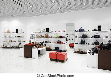 moderno, centro commerciale, scarpa, interno, negozio, europeo