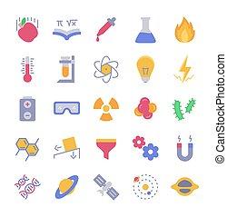 moderno, colorare, appartamento, icona, scienza, vettore, disegno, set, pieno, stile