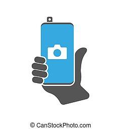 moderno, congegno, smartphone, illustration., 10., comunicazione, application., segno, eps, icona, fronte, vettore, telefono macchina fotografica, retrattile