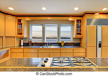 moderno, contatore, grande, legno, lusso, granito, tops., cucina