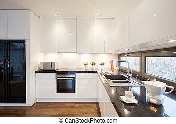 moderno, disegnato, cucina