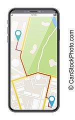 moderno, mappa, marker., smartphone