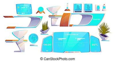 moderno, set., provviste, futuristico, roba, aula