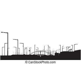 moderno, sihouette, veduta città
