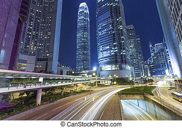 moderno, traffico, hongkong., strada, città, piste, luce