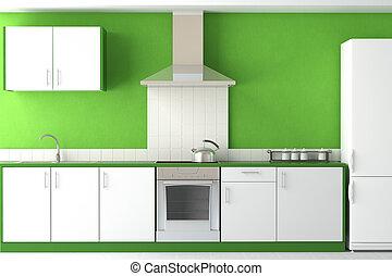 moderno, verde, disegno, cucina, interno
