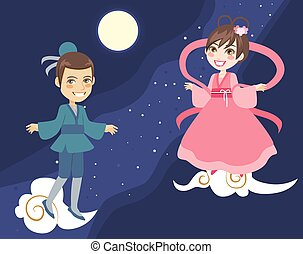 modo, coppia, festival, tanabata, latteo