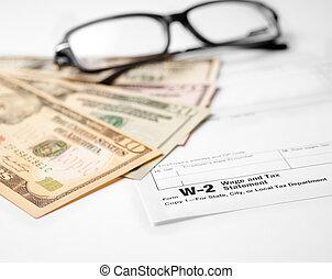 modulo tassa, w-2, salario, dichiarazione