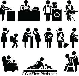 moglie, donna, madre, routine quotidiana