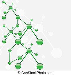 molecola, verde, argento, fondo