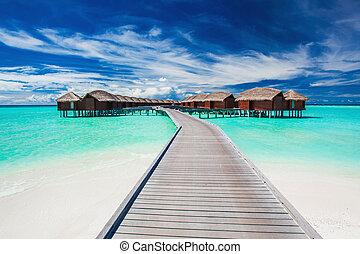 molo, overwater, tropicale, collegato, ville, laguna