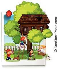 molti, bambini, treehouse, gioco