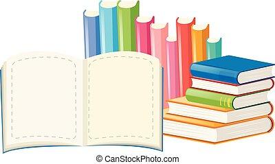 molti, bianco, libri, fondo