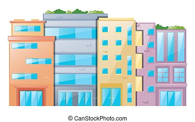 molti, costruzioni, sfondo bianco
