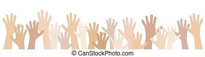 molti, estensione, mani, persone, loro, su