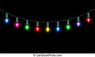 molti, lampadine, fondo, luce, natale, verde
