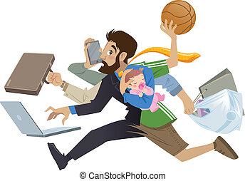 molti, super, occupato, cartone animato, uomo, multitask, padre, lavori in corso