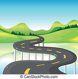 molto, stretta, curva, strada